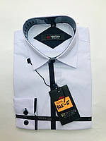 Рубашка на мальчика 6-13 лет приталенная с длинным рукавом белого цвета с окантовкой оптом