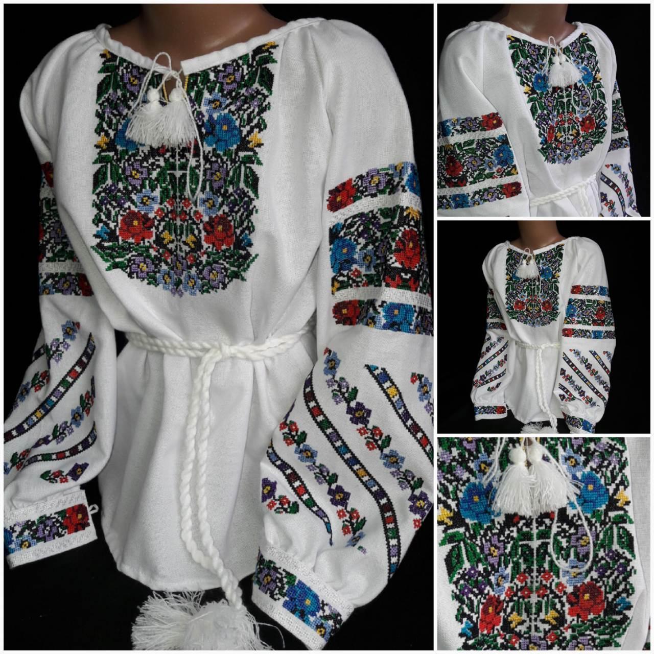 "Детская вышиванка ""Маричка"", цвет белый, домотканка, 6-12 лет, 540/440 (цена за 1 шт. + 100 гр.)"