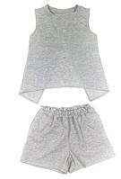 Комплект для дівчинки трикотажний з люрексом, сірий, шорти і футболка