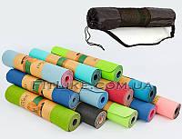 Коврик для йоги TPE 6 мм и фитнеса 2-х слойный + чехол