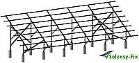 Конструкция для крепления 60 солнечных панелей оцинкованная, двухстоечная, ЧЕТЫРЕХРЯДНАЯ, под закладные детали