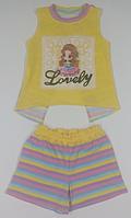Комплект для дівчинки смугастий, жовтий, шорти і футболка