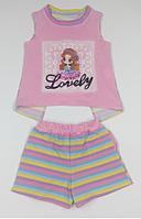 Комплект для дівчинки смугастий, рожевий, шорти і футболка