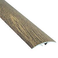 Алюминиевый профиль декоративный одноуровневый гладкий с системой скрытого крепления 40мм х 2.7м дуб рустикал