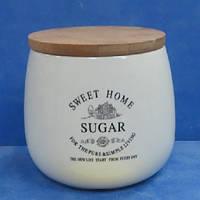 """Банка для сахара """"Глазурь"""" с бамбуковой крышкой 1л 13.5*11.5*12.5см MC2834 (18шт)"""