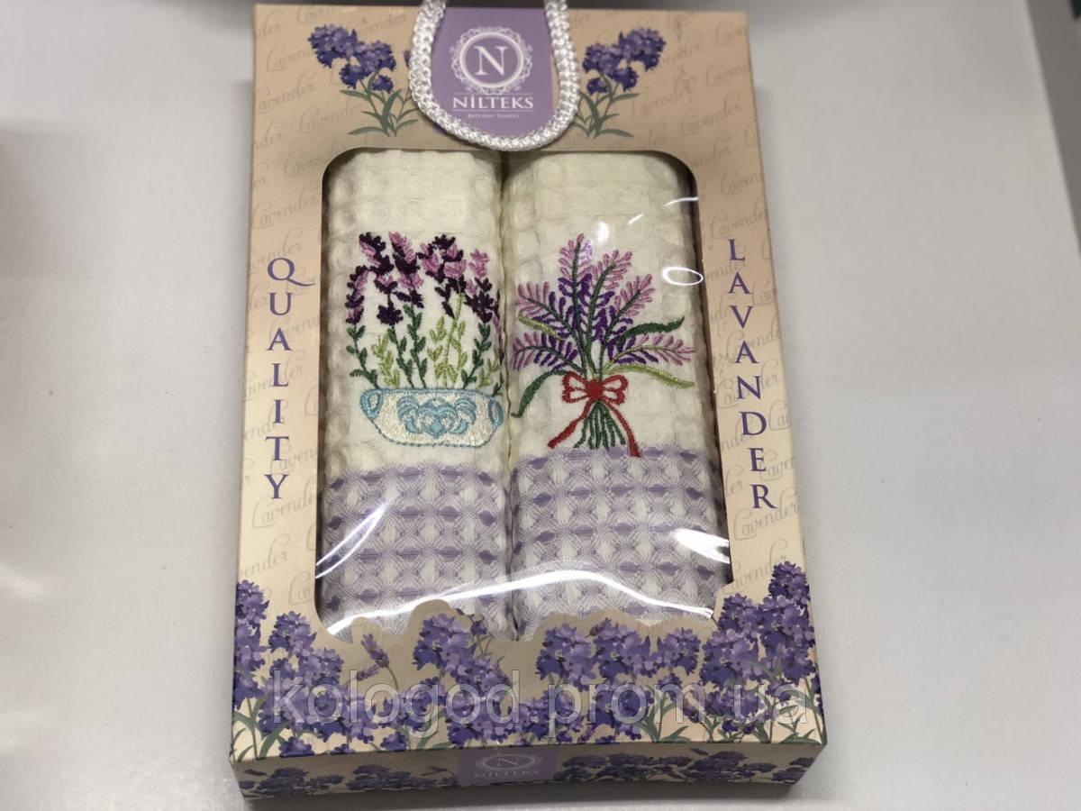 Полотенца Вафельные Кухонные Подарочный Набор 2 шт Вышивка Лаванда Nilteks Размер 50 х 70