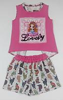 Комплект для дівчинки малиновий з котиками, шорти і футболка