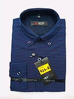 Сорочка на хлопчика 6-13 років приталені з довгим рукавом темно синього кольору з окантовкою оптом