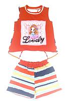 Комплект для дівчинки червоний смугастий, шорти і футболка