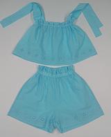 Комплект для дівчинки батистовий, блакитного кольору, топ і шорти