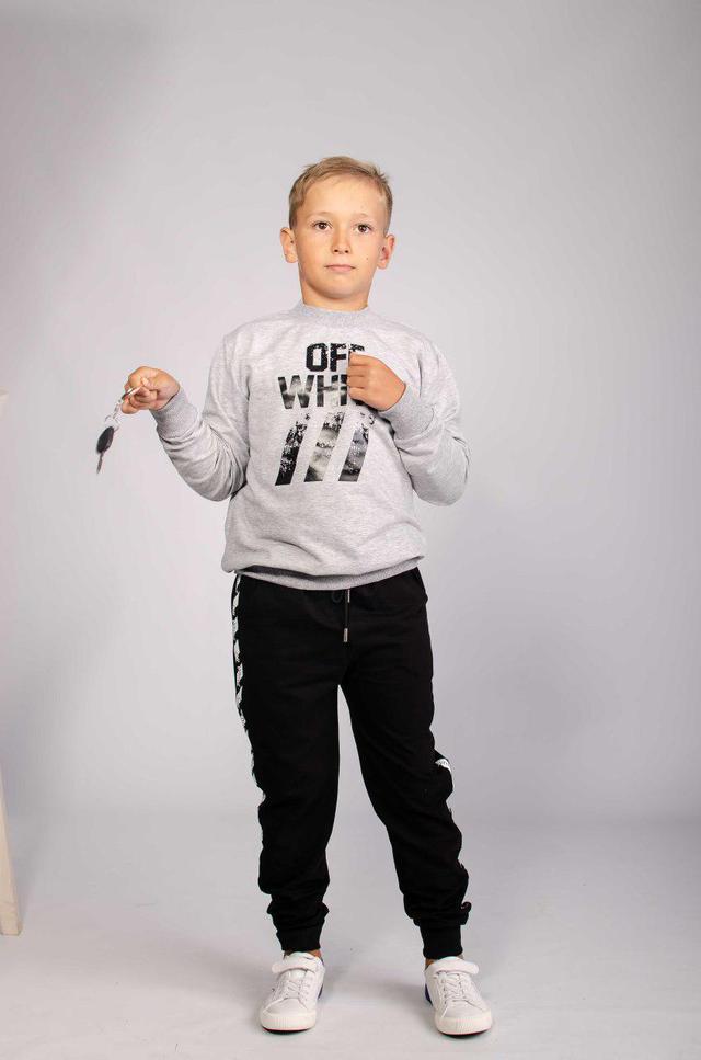 Детский спортивный костюм Off White серого цвета фото