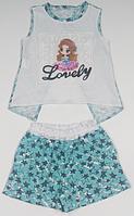 Комплект для дівчинки бірюзовий з зірками, футболка і шорти