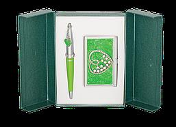 Набор подарочный Langres Crystal Heart ручка шариковая + визитница зелёный