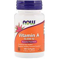 Витамин А, 10 000 IU, Now Foods, 100 желатиновых капсул