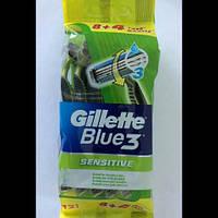 Станок мужской одноразовый Gillette Blue 3 Sensitive ( Жиллетт Блю 3 Сенсетив) 12 шт.