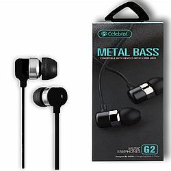 """Навушники """"Celebrat G2"""" з мікрофоном силікон плосский провід, чорний"""
