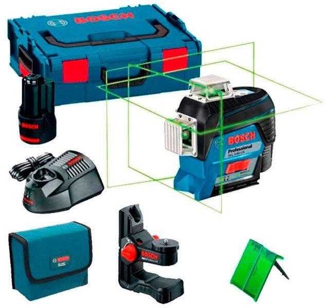Линейный лазерный нивелир Bosch GLL 3-80 CG + BM 1 + зарядка с аккумулятором 12 V + L-Boxx (0601063T00)