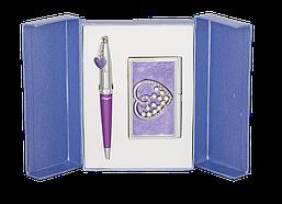 Набор подарочный Langres Crystal Heart ручка шариковая + визитница фиолетовый