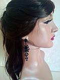 Комплект  вечерние черные серьги  с  красными камнями и браслет, высота 8,5 см., фото 4