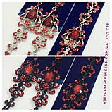 Комплект  вечерние черные серьги  с  красными камнями и браслет, высота 8,5 см., фото 8