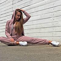 Женский спортивный костюм тройка пудрового цвета от производителя