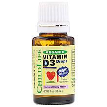 Жидкий Витамин D3 для Детей со Вкусом Ягод, 400 МЕ, Organic Vitamin D3 Drops, ChildLife, 10 мл