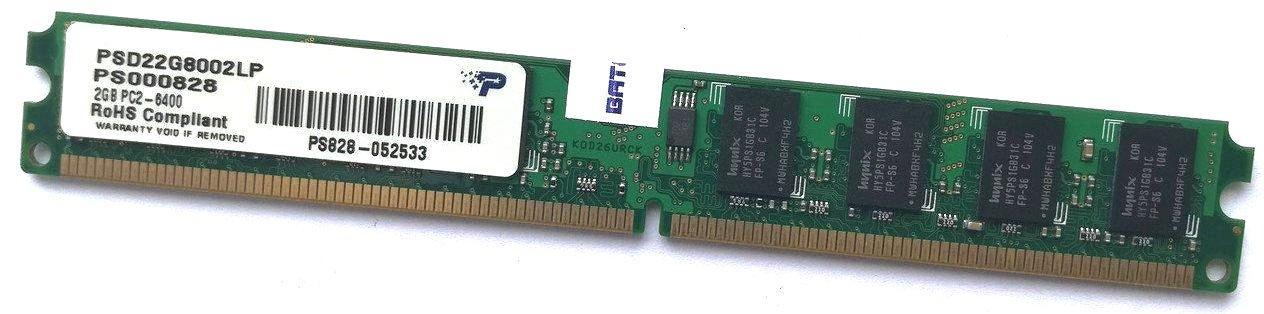 Оперативная память Patriot DDR2 2Gb 800MHz PC2 6400U LP 2R8 CL6 (PSD22G8002LP) Б/У