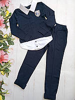 """Школьный костюм подростковый для девочки от 8 до 12 лет """"School"""", темно-синего цвета"""