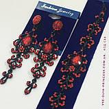 Комплект вечерние серьги с зелёными и синими камнями и браслет, высота 8,5 см., фото 2