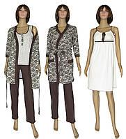 Пижама женская с брюками, ночная рубашка и халат 19016 03278-2 MindViol Agure Brown