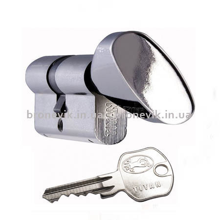 Цилиндр Titan K1 ML 95 (30х65) никель ключ/поворотник