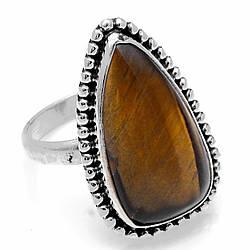 Серебряное кольцо с тигровым глазом, 20*10 мм., 1934КЦТ