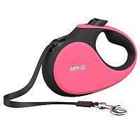 Повідець-рулетка Анімал Делюкс AnimAll Deluxe для собак стрічка M до 25кг 5м рожево-чорна