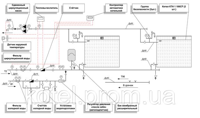 Гидравлическая схема котельной КМ-2-200 Колви 1.100 СР