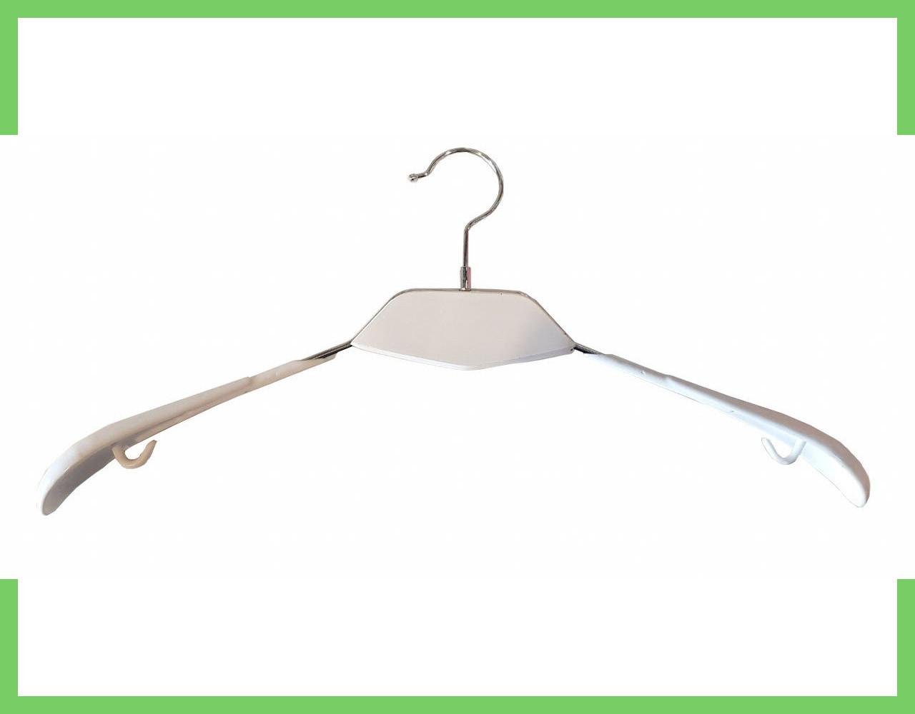 Плечики вешалки силиконовая для одежды с  Деревянной белой вставкой  43см