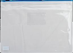 Папка-конверт на молнии BUROMAX прозрачная синяя