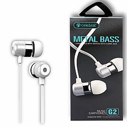 """Навушники """"Celebrat G2"""" з мікрофоном силікон плосский провід, білий"""