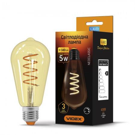 LED лампа VIDEX Filament ST64 5W E27 2200K 220V диммер