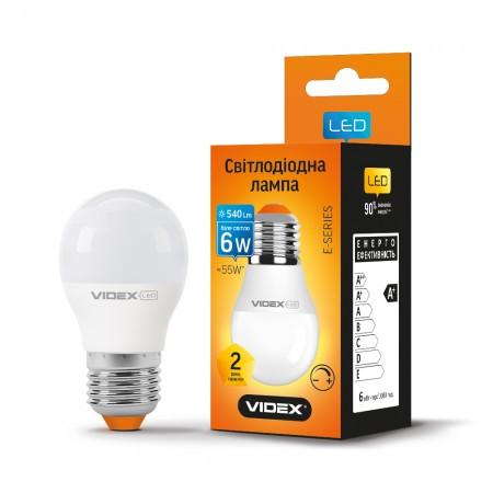 LED лампа VIDEX  G45 6W E27 4100K 220V диммер