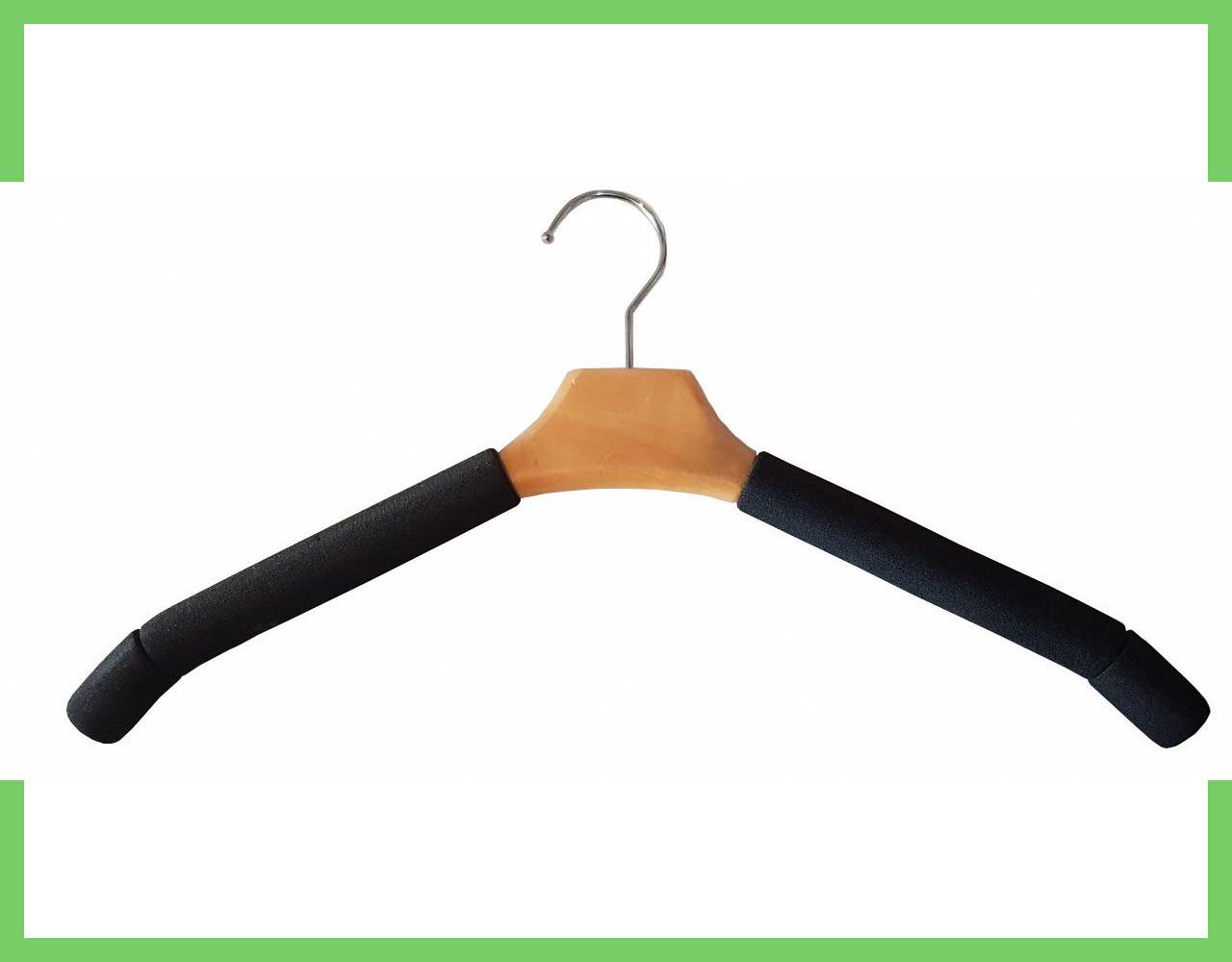 Плечики вешалки поролоновые для одежды (мужские) с деревянной вставкой