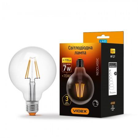 LED лампа VIDEX Filament G95FD 7W E27 4100K 220V диммерная