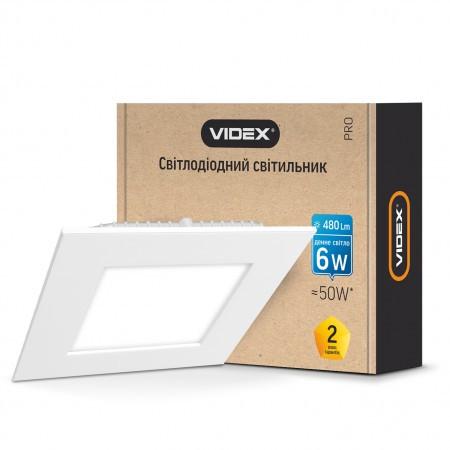 Врезной светильник квадрат VIDEX 6W 5000K 220V