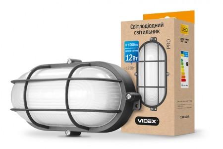 LED светильник (ЖКХ) овальный VIDEX 12W 5000K 220V черный усиленный