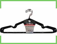 Вешалки плечики силикон для одежды (толстый) (черный) 40 см,крючок не поворотный.