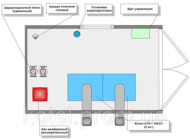 расположение оборудования в котельной КМ-2-200 Колви 1.100 СР