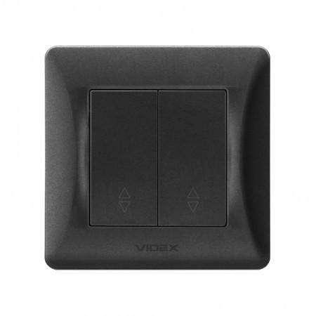 VIDEX BINERA Выключатель черный графит 2кл проходной  (VF-BNSW2P-BG) (20/120)