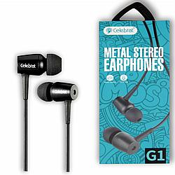 """Навушники """"Celebrat G1"""" з мікрофоном силікон круглий дріт, чорний"""