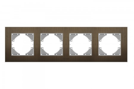 VIDEX BINERA Рамка шоколадный алюминий 4 поста горизонтальная (VF-BNFRA4H-CH) (6/48)