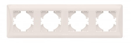 VIDEX BINERA Рамка кремовая 4 поста горизонтальная (VF-BNFR4H-CR) (12/72)