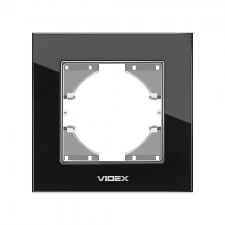 VIDEX BINERA Рамка черное стекло одинарная горизонтальная (VF-BNFRG1H-B) (12/144)